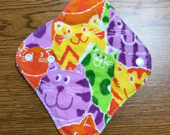 8 Inch LIGHT Absorbency Reusable Cloth Panty Liner - Funky Cats