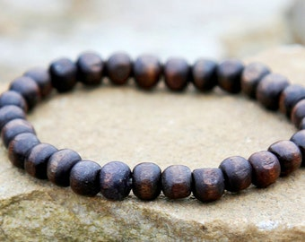 men bracelet beaded bracelet  Wood bead bracelet Wooden bracelet Wood Bracelet wooden jewelry boho bracelet tribal jewelry tribal bracele