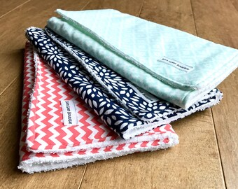 Burp Cloth Set, Modern Burp Cloth, Terry Cloth Burp Cloth, Trendy, coral chevron, navy floral, mint tribal, Baby Shower Gift