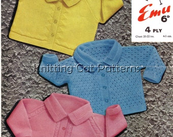 4ply Baby Knitting Pattern - 3 Cardigans - 20 to 22 ins - PDF - Instant Download