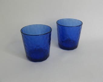 Cobalt blue glasses, made in France, lumpy structure.