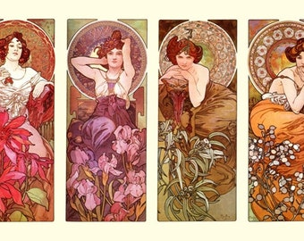 The Four Gemstones Alphonse Mucha Lovely Art Nouveau 4 Panel Poster A3/A2 Re Print