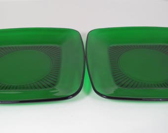 Pair Anchor Hocking Forest Green Square Dinner Plates, Emerald Green Glass, Christmas Dishes, Set of Two Plates