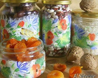 Hand Pained Glass Cookie Jars & Containers Kitchen Decor Floral Food Storage Packaging Jars Art Gigt Set of 4