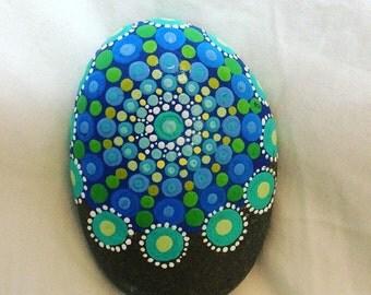 Blue and Green Mandala Stone