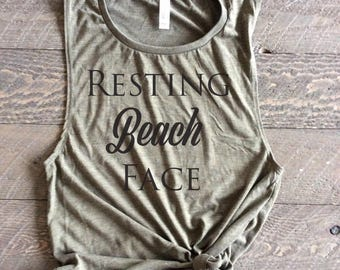 Resting Beach Face, Resting Beach Face Muscle Tank, Resting Beach Face Tank, Resting Beach Face Shirt, Beach Tank,Beach Muscle Tank, Muscle