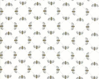 Bumble Bee Lattice in Laurel White - Bee Inspired - cotton fabric