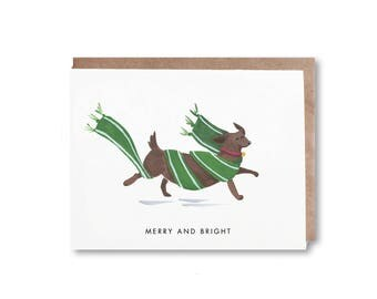 Merry and Bright/ Hand-Painted Greeting Card/ Blank Greeting Card