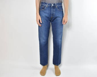 Vintage Dark Blue Levis 501 High Waisted Mom Jeans