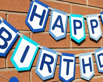 Blue Birthday Banner - Personalized Birthday Banner -Custom Happy Birthday Banner - Birthday Sign -  Birthday Banner - Boy's Birthday Banner