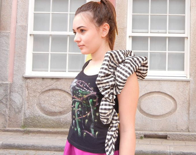 Hand Painted Sleeve Decorated Top, Summer Asymmetric Black Blouse, Bridesmade Top