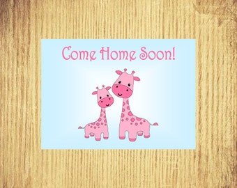 """Come Home Soon ~ Miss You Card ~ 5"""" x 7"""" Landscape, Folded"""