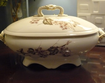 Lilac Flowers Hand Painted on B.D. Guerin Pouyat Limoges Tureen
