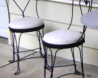 Wrought Iron Ice Cream Chairs, from 1930 and 1940s from Original Soda Fountain