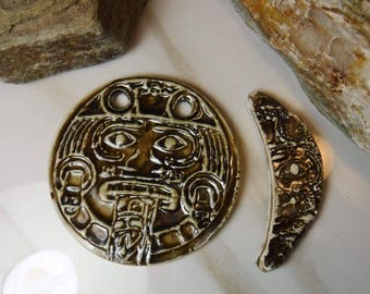 2 BIG MAYAN Ceramic Jewelry Supplies Pendant Components #628