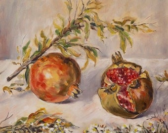 Pomegranates and flowers | Oil on canvas | Original painting