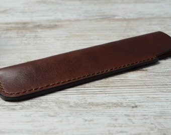 20% OFF ! Leather Pen Case, Leather Pen Holder, Single Pen Holder, Handmade Leather Pen Pouch