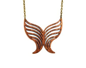 Butterfly wood necklace - Geometric necklace - Laser cut necklace - Minimalist jewelry - Laser cut jewelry-Wooden pendant-Geometric jewelry