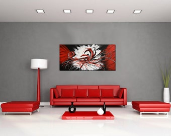 Abstract Painting Original on Canvas, Large Wall Art Canvas, Contemporary Art, Ready to Hang Art, Black Red White by Kathleen Artist Pro
