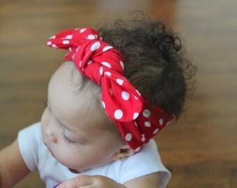 Baby Headband - Top knot Headband - Toddler Headband - Polka Dot - Red headband