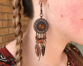 Copper toned dreamcatcher earrings