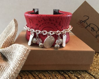 Red cuff leather bracelet