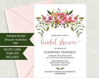Printable Bridal Shower Invitation and Recipe Card Set, Instant Download, Floral theme WLP241