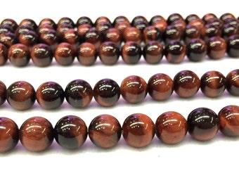 Red Tiger Eye Round beads 8mm 10mm 12mm Red Tiger Eye Mala Beads Red Gemstone Beads Meditation Yoga Healing Beads Men Bracelet Necklace Bead
