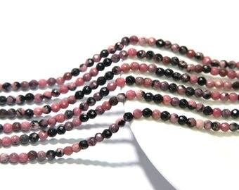Rhodonite Faceted Beads 2mm 3mm Natural Rhodonite Matrix Beads Genuine Pink Gemstone Pink Tiny Beads Pinky Small Beads Pinky Vintage Beads