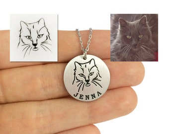 Custom Cat Necklace, Personalized Cat Portrait Necklace, Cat Lover Necklace, Pet Memorial Necklace, Animal Portrait Necklace