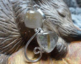 transparent rutilated quartz pendant