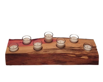 Log Candle Holder, Rustic Tealight Holder, Rustic Centerpiece, Rustic Home Decor, Raw Wood Slab, Log Stump