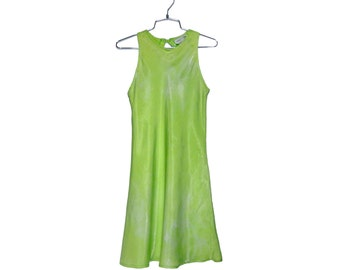 Y2K Club Kid Metallic Lime Green Mini Dress