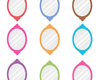 Set of Colorful Oval Mirrors Clip Arts, Looking Glass, Reflection, Decorative, Imagery