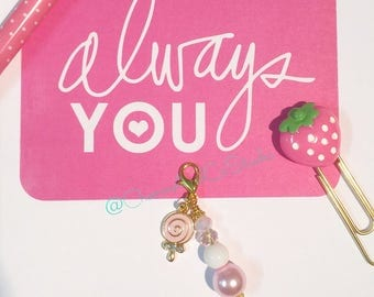 Pink Planner Charm/ Midori Dangle/ Travellers Notebook/ Zipper Charm Lolly Pop Accessory