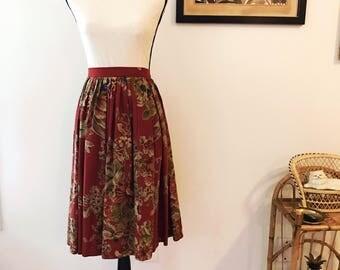 Vintage floral high waist skirt / ralph lauren skirt