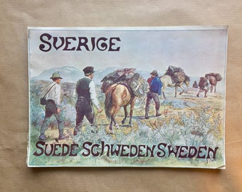 Antique book. Views of Sweden from 1901, a tourist picture book of Sweden