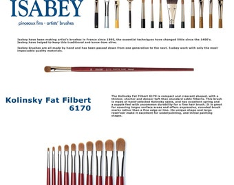 Isabey 6170 - SIZE 6, 8 or 10 - Kolinsky Fat Filbert - Made in FRANCE
