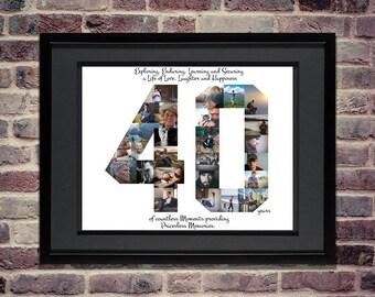 40th Birthday / Anniversary Photo Collage - 40th Birthday Centerpiece - 40th Birthday Gift - 40th Anniversary Gifts - Custom Photo Collage