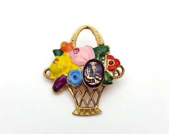 Beautiful Spring Basket with Flowers Colorful Brooch Gold tone Vintage Filigree Basket Weave Mother's day gift mom grandmother