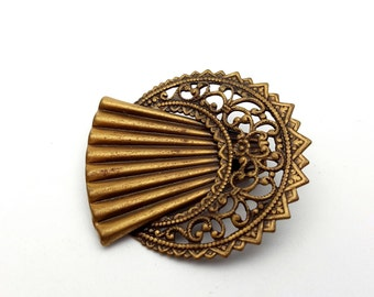 Intricate and Detailed Filigree Copper tone metal Brooch Vintage Victorian Revival Antique Look Lightweight Statement Pin