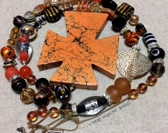 Large Cross Necklace Orange and Black Pendant Bold Statement Punk Goth Jewelry Jewellery Bohemian Day of the Dead Religious Crucifix