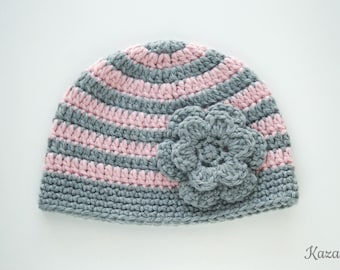 30 % off, Striped crochet baby hat with double flower, 3 months size, grey and pink