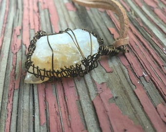 Medium length citrine necklace |suede  necklace | wire wrapped citrine