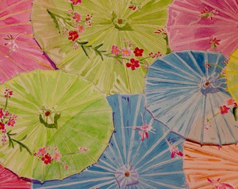 Chinese Umbrellas Original Watercolor Painting