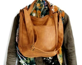 MinIKS / vegan / ginger / small / hand bag / cross body / shoulder bag / bag / minimalism / pocket / minimal / fake leather / zipper