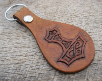 Thor's Hammer Mjolnir Leather Keyring/Keychain with hand tooled Viking design custom made to order. Free shipping.