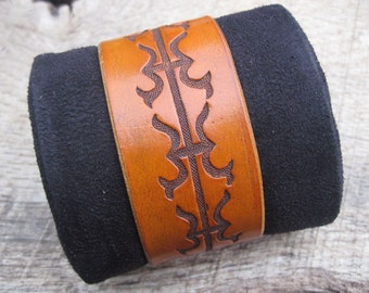 Mens Leather Cuff Bracelet with Hand Tooled Slavic Tribal design made to order. Free shipping.