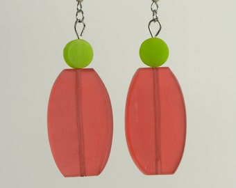 RR#18 - Red and Lime Resin Earrings