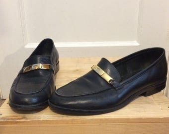Etienne Aigner Black Vintage Leather Glaston Style Loafers Aigner Shoes